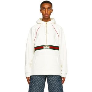 Gucci half-zip web ribbon hooded sweatshirt white